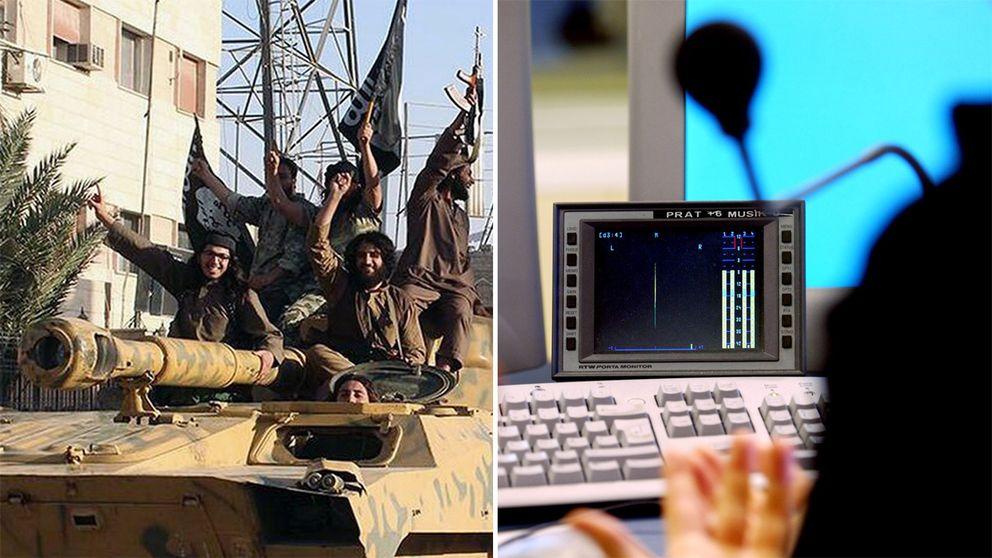 Bild på IS-krigare och radiostudio.