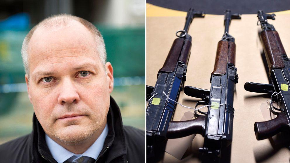 Justitieminister Morgan Johansson (S) öppnar för en översyn av lagstiftningen. Fler vapenbrott ska klassas som synnerligen grova och därmed ge längre fängelsestraff.