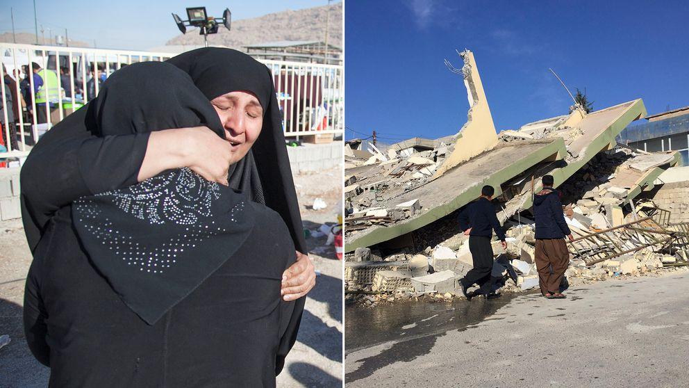 Två sörjande kvinnor omfamnar varandra i Iran. En byggnad som kollapsat efter jordbävningen i Irak.