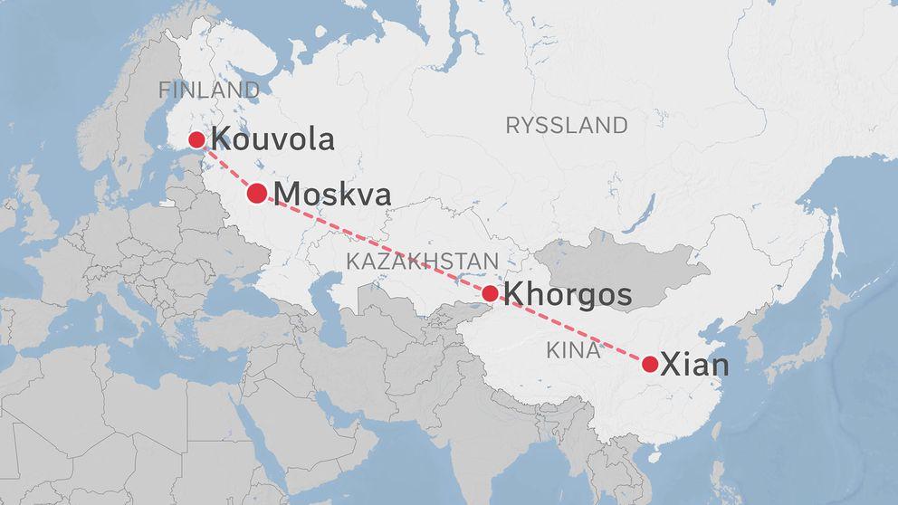 Karta som visar järnvägsrutt mellan Kouvola i Finland och Xian i Kina.