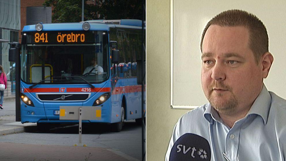 Ett montage av bilder. Till vänster en av länstrafikens bussar, till höger en bild på Tony Lundberg som är trafik- och marknadschef länstrafiken Region Örebro län.