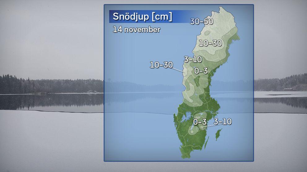 Grov analys av snödjupet i landet på morgonen den 14 november 2017.