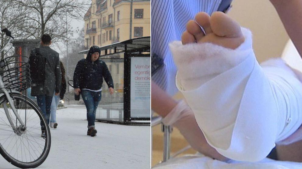Bild på en person som går på en gata när de snöar och en bild på en bruten fot i ett montage.
