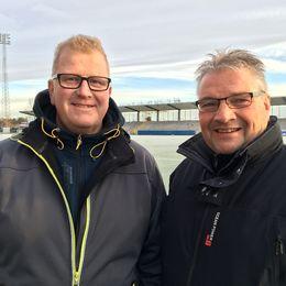 Jan Ahlgren vice ordf. IFK Västerås FK tillsammns med Thomas Wallin vice ordf. VSK Fotboll