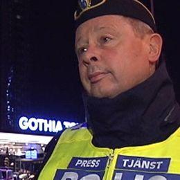 Polisens presstalesperson Thomas Fuxborg berättar om avspärrningarna vid Svenska mässan i Göteborg som nu är på plats.