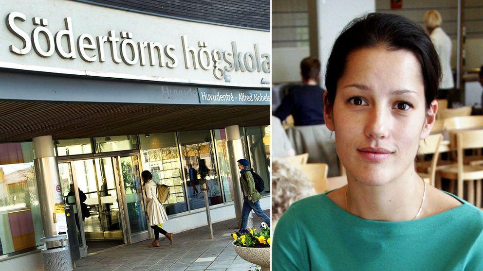Tvådelad bild föreställande entrén till Södertörns högskola till vänster och Inger Ashing till höger