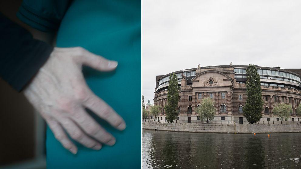 En man håller sin hand på en kvinnas höft. Bredvid en bild på den svenska riksdagen.
