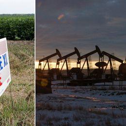 """Skylt med texten """"Stop the Keystone Pipeline XL och arkivbild på oljeborrning i grannstaten North Dakota."""