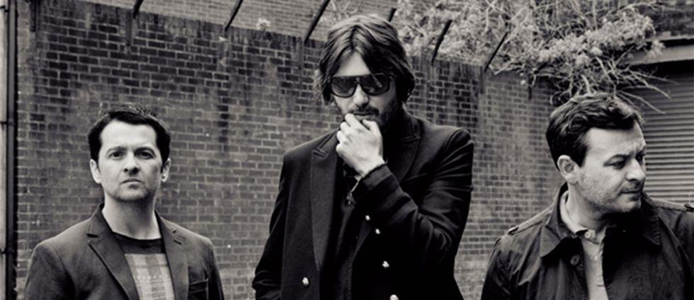 Sean Moore, Nicky Wire och James Dean Bradfield från det brittiska bandet Manic Street Preachers.