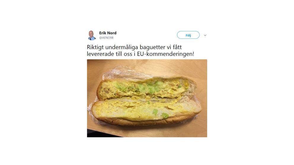 En skärmavbild från en tweet där Erik nord kallar baguetten för undermålig.