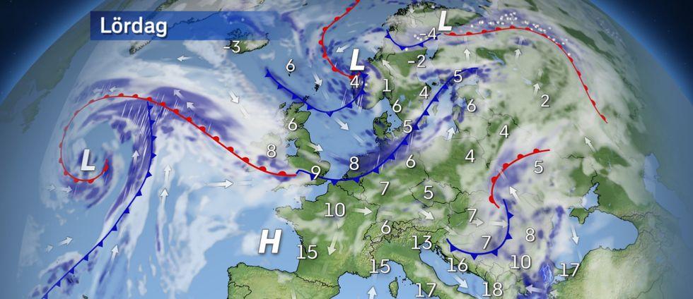 Lördag: Fortsatt besvärligt väder i Grekland.