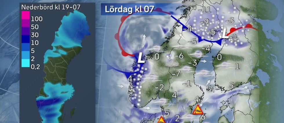 Lördag morgon: Regn i söder. Under natten förstärks ett regn över Götaland. Lokalt kan det komma rätt mycket, kanske 30 mm eller så. Samtidigt hänger snöfallet kvar i norr. Lilla kartan till vänster visar trolig nederbördsmängd i millimeter från fredag kväll till måndag morgon.