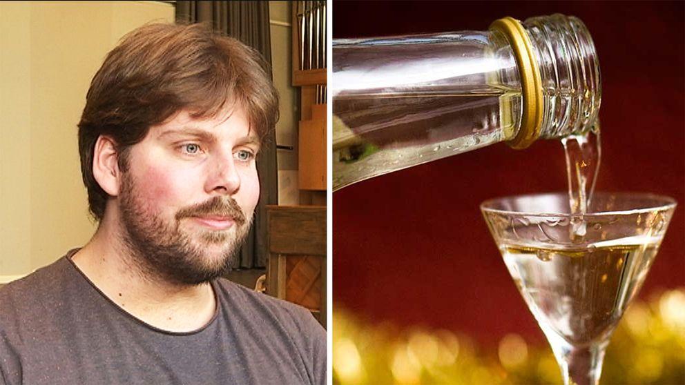 Filip Pontelius och en snaps som hälls upp i ett glas.