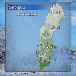 Snödjup uppmätt på morgonen den 20 november