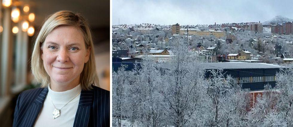 porträttbild på en kvinna, och vintrig stadsvy över Kiruna