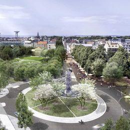 Landskrona stads nya entré Österport med fontänen 33 lågor, som ska symbolisera Skånes kommuner som brinner för kulturen.
