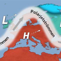 Schematisk bild av polarjetströmmens ungefärliga läge från onsdag och fram till helgen.