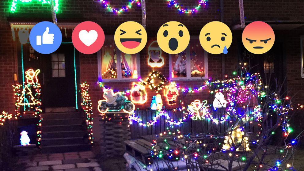 julpyntat hus och emoji-symboler ovanpå bilden