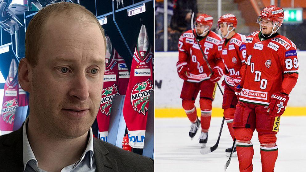 Johan Widebro till höger, Modospelare till vänster