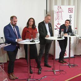 Karin Olsson, Försäkringskassan, Torbjörn Wass, Arbetsförmedlingen, Fredrik Lundh Sammeli (S), ordf socialförsäkringsutskottet och Philipp Eldon, Kommunal. Arrangör: LO-distriktet Stockholm.