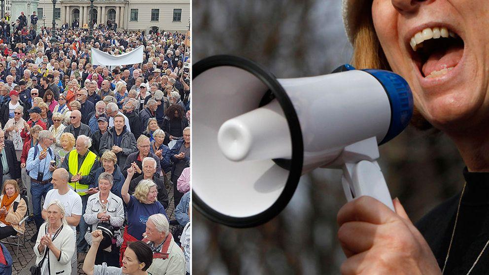 folkmassa och kvinna som ropar i megafon