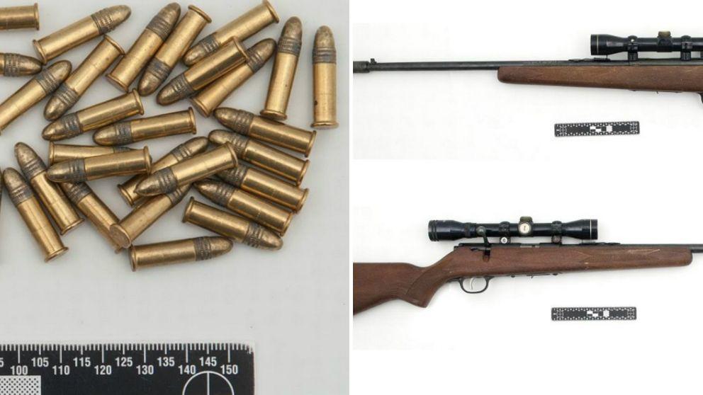 Bilder på patroner och gevär från polisens förundersökningsprotokoll.