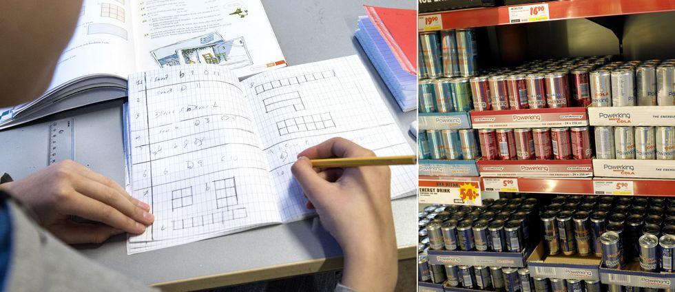 En elev räknar matte. Till höger en bild på energidrycker.