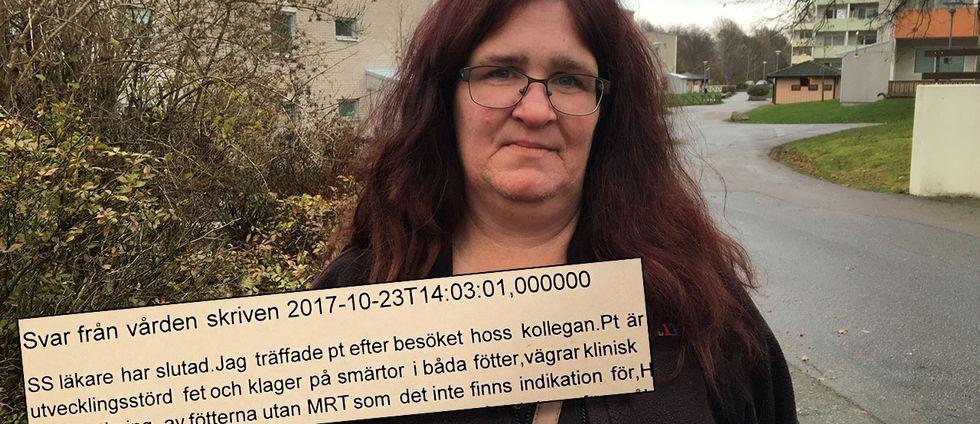 Carola Karlsson från Ronneby blev chockad över hur läkaren uttryckte sig i brevet till Försäkringskassan. Här är ett utdrag av hur läkaren uttryckte sig.