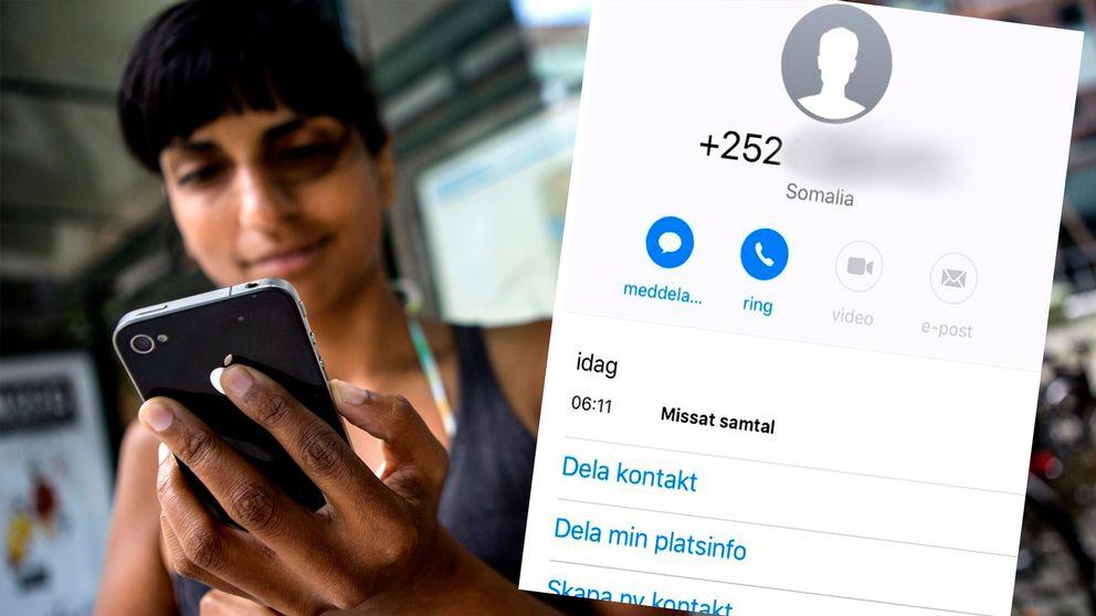 En kvinna med mobil och en uppringningskärm på telefon