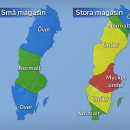 Grundvattennivåer i små och stora magasin under november 2017 jämfört med det normala.