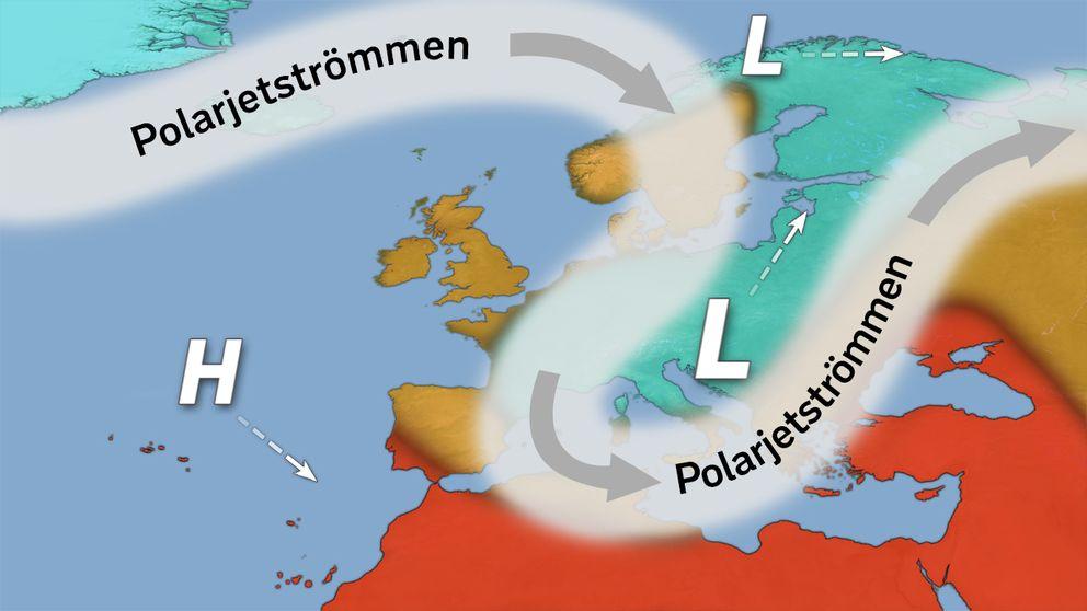 Polarjetströmmens ungefärliga läge 1-5 december.