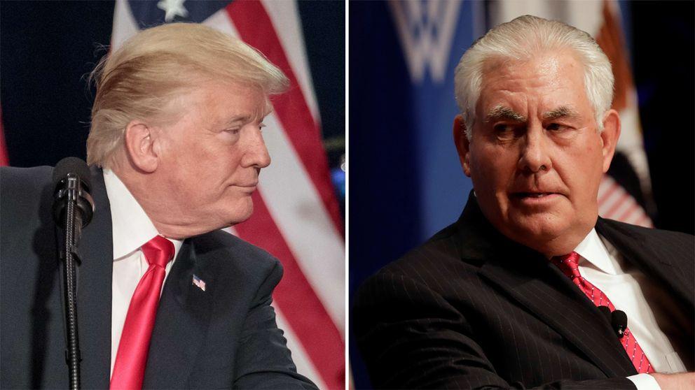 Till vänster Donald Trump. Till höger Rex Tillerson. Arkivbilder.