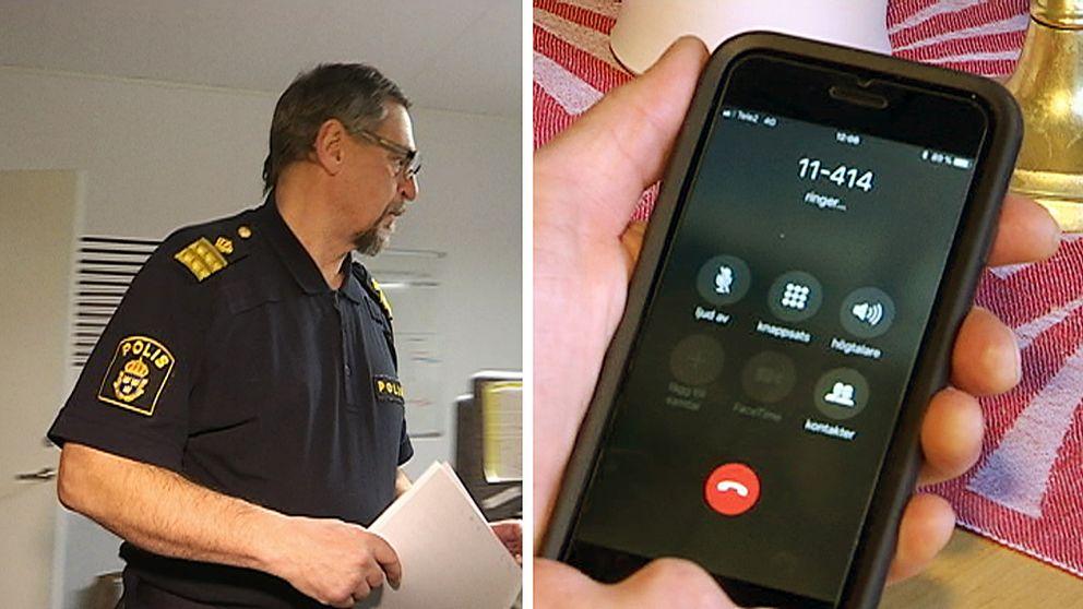 Till vänster syns en polis. Till höger syns en telefon där 114-14 är inslaget