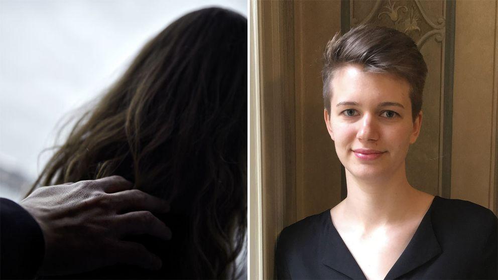 Bild på kvinna som får en hand på axeln och Siri Helle, psykologkandidat som bland annat skrivit en bok om arbetsmiljö.