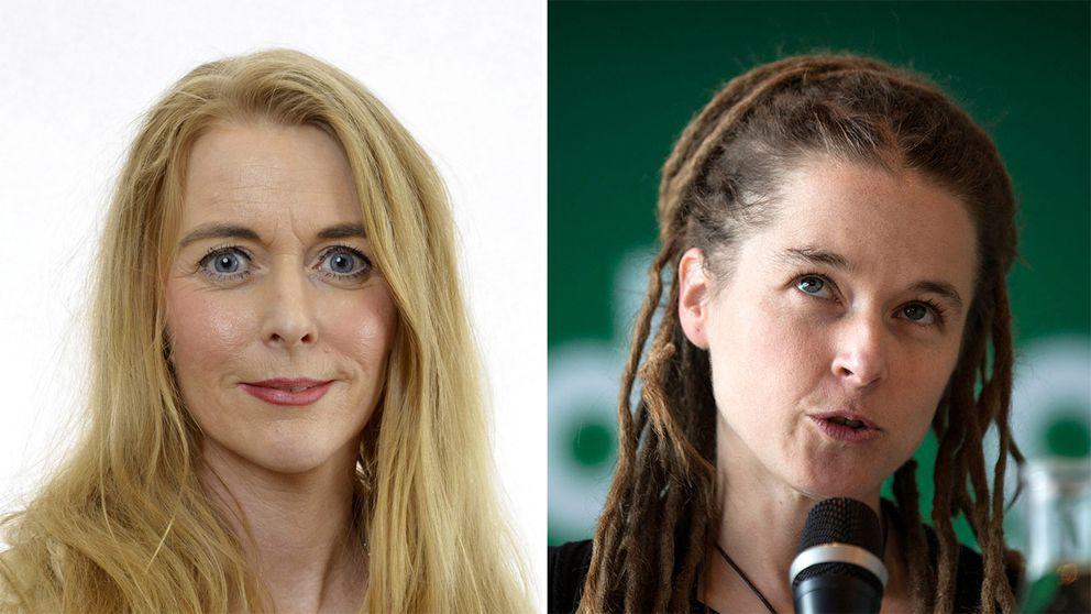 Till vänster Pernilla Stålhammar. Till höger MP:s partisekreterare Amanda Lind.
