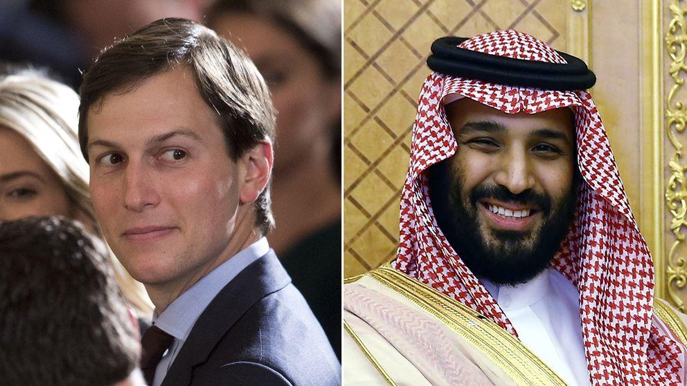 Trumps svärson Jared Kushner till vänster och Saudiarabiens kronprins Mohammed bin Salman till höger