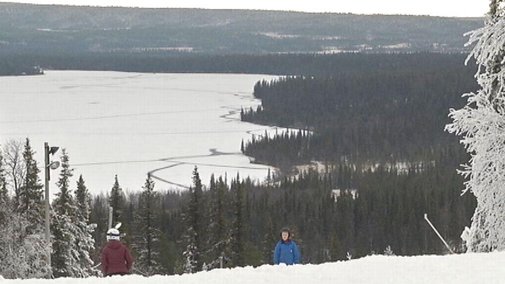 utsikt från skidbacke mot sjö och skog