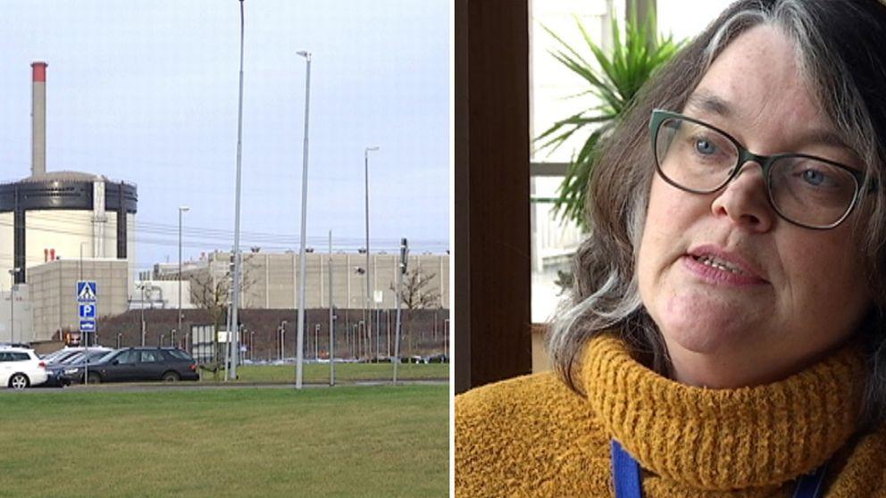 Till vänster syns kärnkraftverket Ringhals, till höger Karin Sickeldal. Personalspecialist inom hälsa på Ringhals.