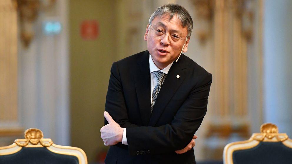 Nobelpristagaren i litteratur Kazuo Ishiguro under pressträffen på Svenska akademien i Stockholm