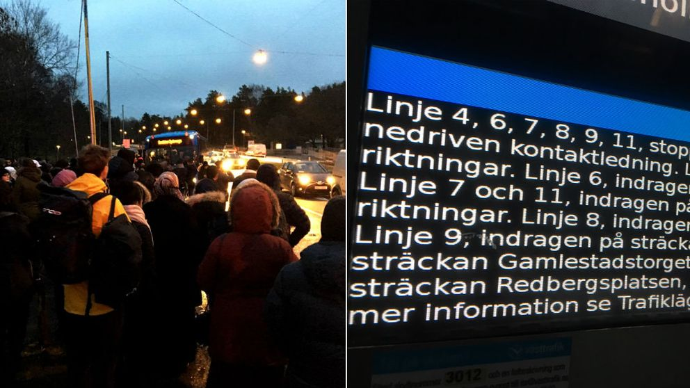 Till vänster, folk som väntar på ersättningsbussar. Till höger Västtrafiks informationstavla.