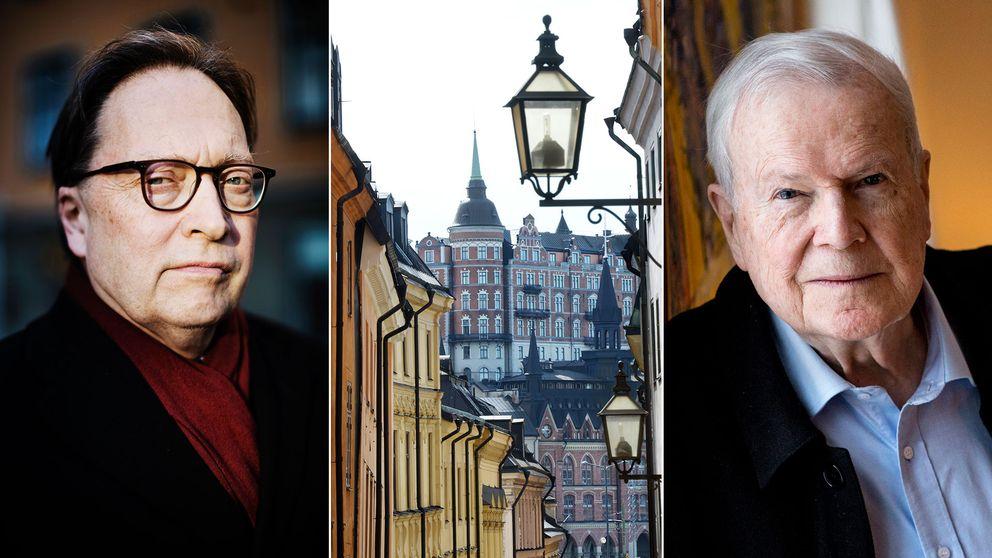 Akademiledamöterna Horace Engdahl och Kjell Espmark.
