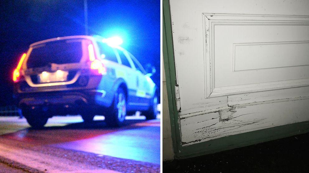 polisbil/den trasiga dörren.