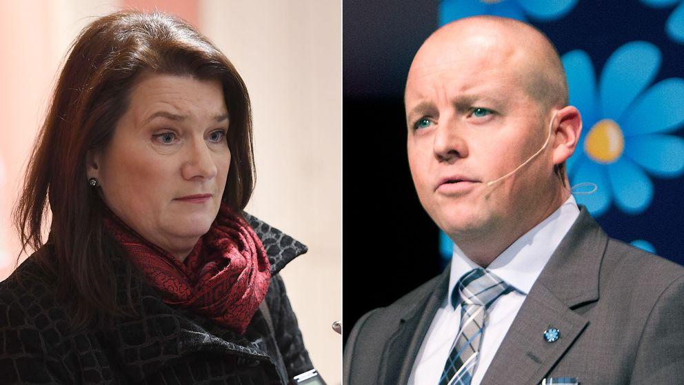 Handelsminister Ann Linde (S) och riksdagens andre vice talman, Björn Söder (SD)