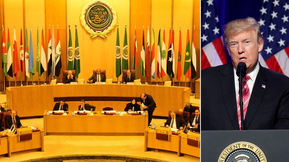 Arabförbundets högkvarter och USA:s president Donald Trump