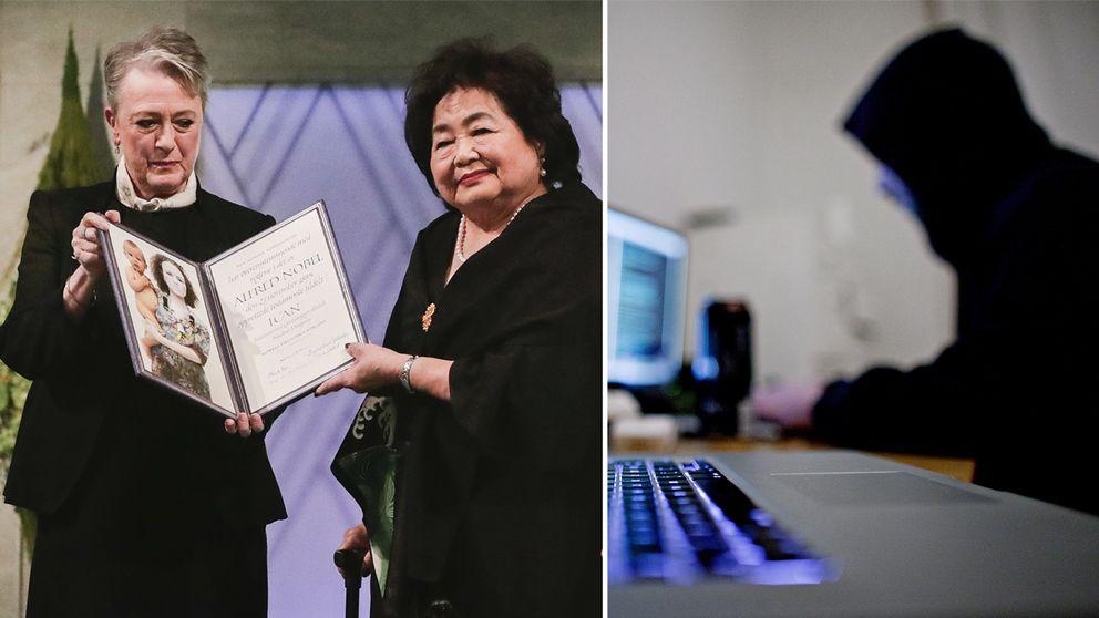 Ledaren för fredspriskommittén Berit Reiss-Andersen tillsammans med årets pristagare Setsuko Thurlow (vänster). Till höger en svartklädd person framför en dator.