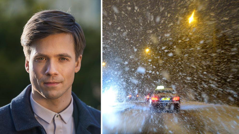 Porträtt på Nils Holmqvist. Ymnigt snöfall.