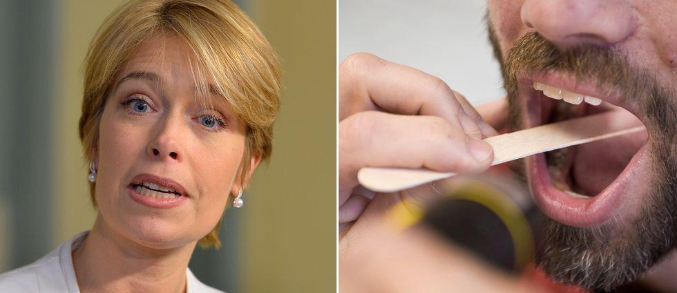 Socialminister Annika Hällstrand och en man som läkarundersöks