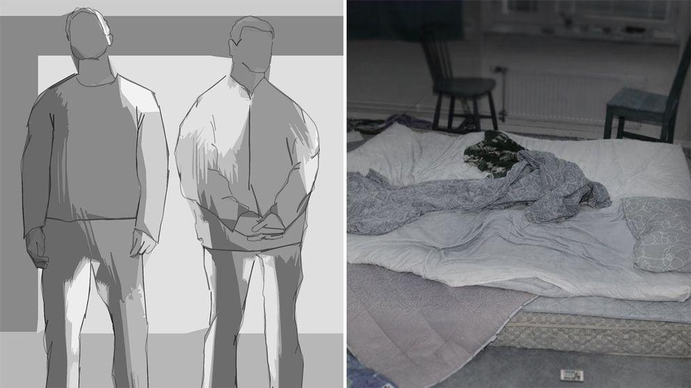 En siluett av två män och en säng från förundersökningen.