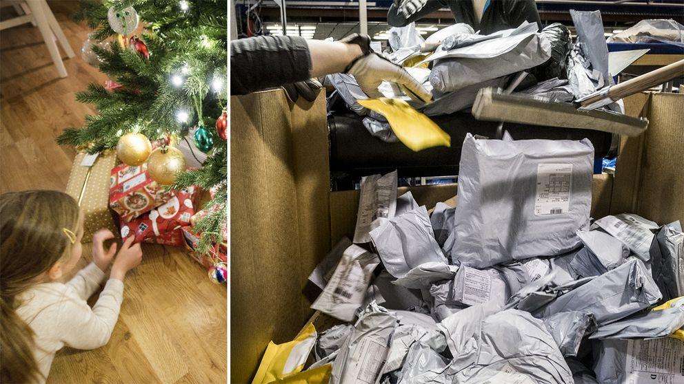 Flicka med julklappar och Postnords terminal på Arlanda i december.