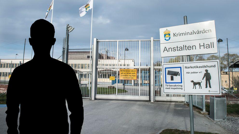 Anstalten Hall och en siluett-bild av en man